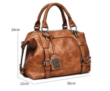 Women Bag Vintage Shoulder Bag Luxury Handbags PU Leather Crossbody Bags - Handcrafted Wood, Iron & Copper