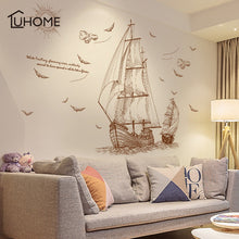Sailboat Wall Decal Voyage Seabirds Landscape Wall Stickers Home Decor Living Room Bedroom Decal Wallpaper Art 120x89cm - Handcrafted Wood, Iron & Copper