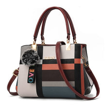 New Casual Plaid Shoulder Bag Fashion Stitching Wild Messenger Brand Female Totes Crossbody Bags Women Leather Handbags - Handcrafted Wood, Iron & Copper