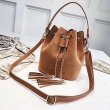 Mini Crossbody Handbags Cute Suede Bucket Bag Organizer Small Tassel PU Leather Womens Shoulder Messenger Bags - Handcrafted Wood, Iron & Copper