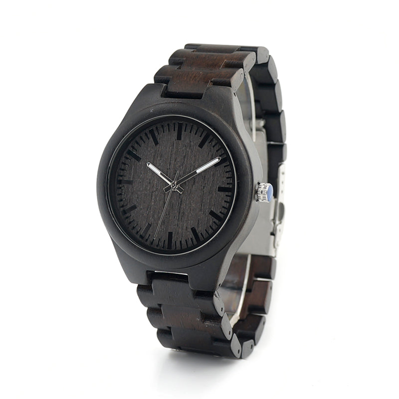 Wooden Watches Luxury  Men Watch Quartz Handmade Wood Wrist Watch - Handcrafted Wood, Iron & Copper