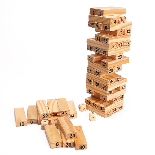 54Pcs Blocks+4Pcs Dice Wooden Tower Wood Building Blocks Classic Toy Domino Stacker Extract Building Educational Game Gift - Handcrafted Wood, Iron & Copper