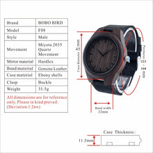 Wooden Luxury Men Watches Black Wood Watches Wrist Watch Black Leather Band - Handcrafted Wood, Iron & Copper