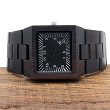 Luxury Mens Wood Watches All Black Wood Strap Japan Movement Wrist Watch - Handcrafted Wood, Iron & Copper