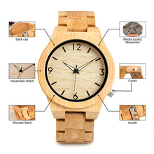Bamboo Wooden Watch Unique Lug Design Luxury Quartz Wood Band Night Green Pointer Wood Wrist Watches - Handcrafted Wood, Iron & Copper
