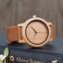 Bamboo Wood Watches for Men and Women Fashion Casual Leather Strap Wrist Watch - Handcrafted Wood, Iron & Copper
