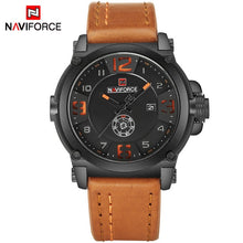 Luxury Men Wristwatch Sports Military Quartz Watch Man Analog Date Clock Leather Strap - Handcrafted Wood, Iron & Copper