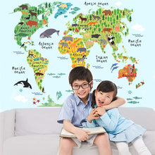 Animals World Map Wall Stickers for Kids Rooms Office Nursery HomeDecor Wall Decals - Handcrafted Wood, Iron & Copper