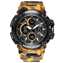 Camouflage Military Watch Men Waterproof Dual Time Display Mens Sport Wristwatch Digital Analog Quartz Watches - Handcrafted Wood, Iron & Copper