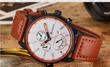 Quartz Watch Men Luxury Leather Mens Watches Fashion Casual Sport Men Wristwatches - Handcrafted Wood, Iron & Copper