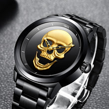 Mens Watches Skull Watch Men's Military Sports Watch  Waterproof Stainless Steel Gold Quartz Wristwatch - Handcrafted Wood, Iron & Copper