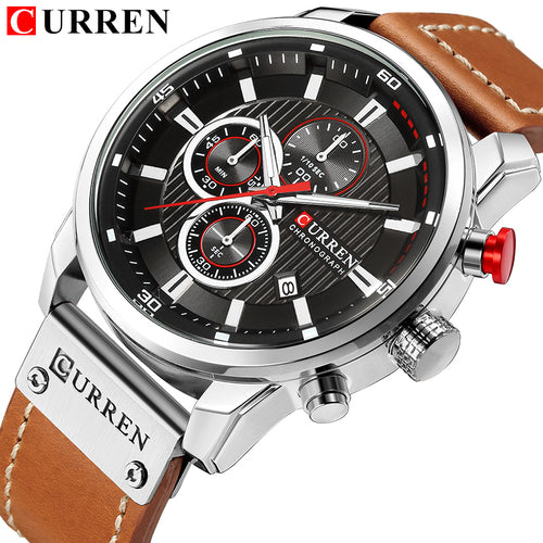 New Watches Men Luxury Chronograph Men Sport Watches Quality Leather Strap Quartz Wristwatch - Handcrafted Wood, Iron & Copper