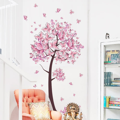 Pink butterfly flower Tree Wall Stickers Decals Girls Women Flower Mural Vinyl Wallpaper Home Living Room Bedroom Decor - Handcrafted Wood, Iron & Copper