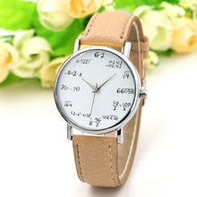 Ladies Watch Fashion Math Function Pattern Wristwatch Leather Band Alloy Analog Quartz Watches Wrist Watches - Handcrafted Wood, Iron & Copper
