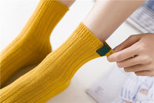 Autumn Winter Fashion Socks Cotton Ladies Mid Tube Socks College Style Pure Color Vertical Bar Women Short Socks - Handcrafted Wood, Iron & Copper