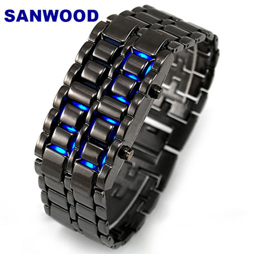Newest Stainless Steel Wristwatch Bracelet Watch Men Women Lava LED Faceless Digital Wristwatches - Handcrafted Wood, Iron & Copper