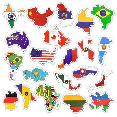 50 PCS National Flags Stickers Toys for Children Countries Map Travel Sticker to DIY Scrapbooking Suitcase Laptop Car Motorcycle - Handcrafted Wood, Iron & Copper