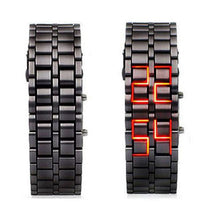 Fashion Black Full Metal Digital Lava Wrist Watch Men Red/Blue LED Display Men's Watches Gifts for Male Boy Sport Creative Clock - Handcrafted Wood, Iron & Copper