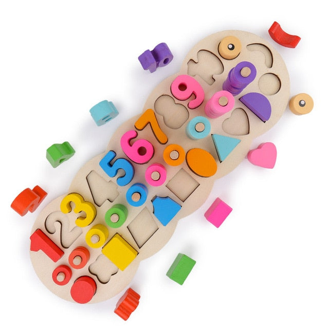 Wooden Montessori Materials Learning To Count Numbers Matching Digital Shape Match Early Education Teaching Math Toys Children - Handcrafted Wood, Iron & Copper