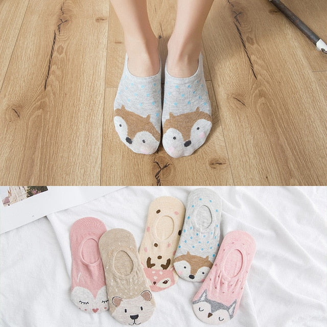 5 Pairs Ladies Spring Summer Socks Cotton Animals 3-D Ears Stealth Women Slipper Socks - Handcrafted Wood, Iron & Copper