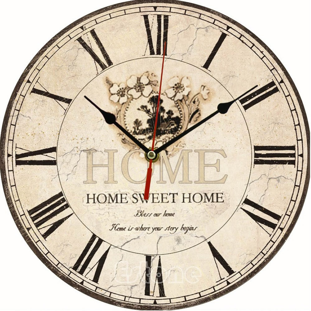 Vintage Wooden Wall Clock Kitchen Antique Shabby Chic Retro Home - Handcrafted Wood, Iron & Copper