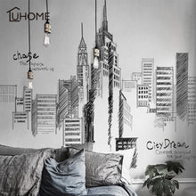 Black Retro Wall Decal Large Tall City Buildings Set Wall Stickers Mural Art for Living Room Sofa Decoration Background Decal - Handcrafted Wood, Iron & Copper
