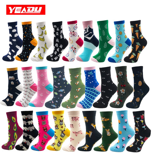 85% Cotton Women's Socks Harajuku Colorful Cartoon Cute Funny Socks for Girls - Handcrafted Wood, Iron & Copper