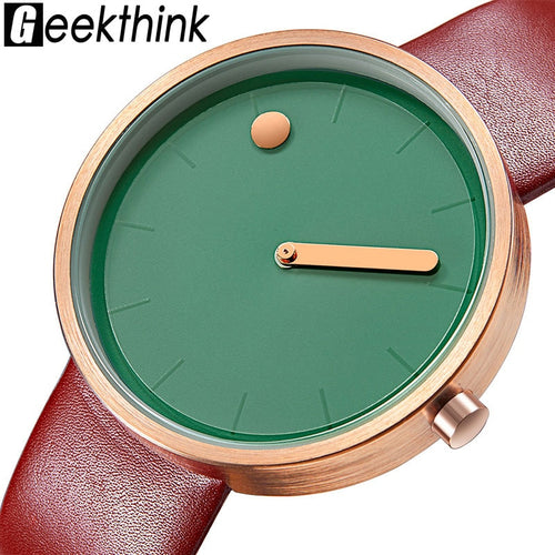 Top Creative Quartz Watch Men Leather Casual Unisex Simple Wristwatch Clock - Handcrafted Wood, Iron & Copper