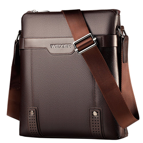 PU Leather Men Messenger Bags Casual Crossbody Bag Business Men's Handbag Bags Men's Small Briefcase - Handcrafted Wood, Iron & Copper