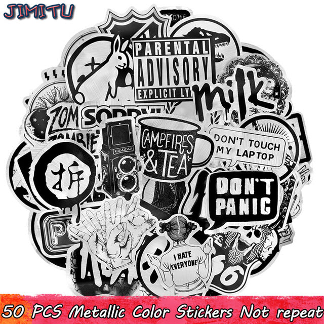 50 PCS Metallic Black and White Sticker Punk Funny Cool Sticker DIY for Laptop Motorcycle Bicycle Guitar Suitcase Skateboard Car - Handcrafted Wood, Iron & Copper