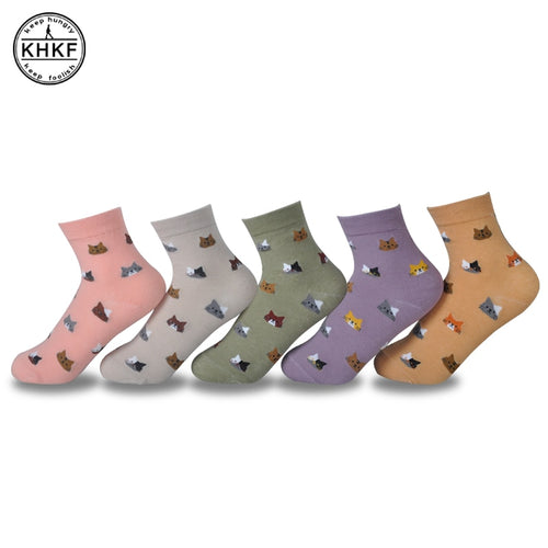 High Quality Colorful Socks Tube Casual Cotton Sox Women Lady Girls Socks - Handcrafted Wood, Iron & Copper