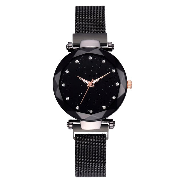 Luxury womens Watch Mesh Magnet Buckle Starry Quartz Watches For Women Fashion Clock - Handcrafted Wood, Iron & Copper