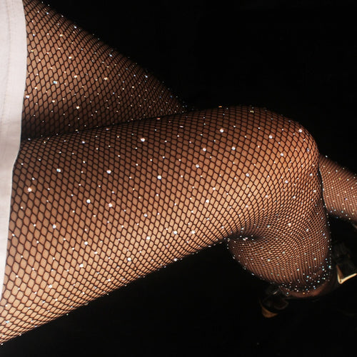 Sexy Women's Diamond Fishnet Tights Mesh Pantyhose Multicolor Rhinestone Nylons Shiny Pantyhose Collant Hosiery Fish Net - Handcrafted Wood, Iron & Copper
