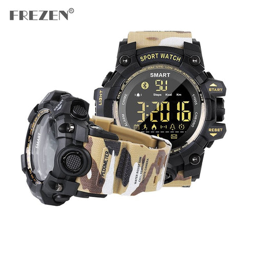 Waterproof Sports Smart Watch Camouflage Outdoor Wristwatch Bluetooth Remote Pedemeter Control Photo Long Standby Smartwatch - Handcrafted Wood, Iron & Copper
