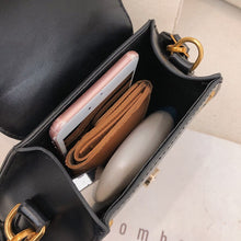 Women Bag Hexagonal Pearl Magnetic Buckle Small Square Bag Striped Shoulder Strap Crossbody Slung Handbag Tote - Handcrafted Wood, Iron & Copper