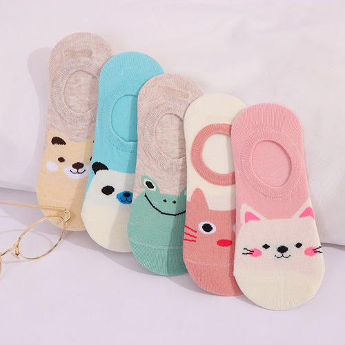 5 Pairs/lot Women Socks Candy Color Small Animal Cartoon Pattern Boat Socks for Summer Breathable Casual Girls Funny Fashion - Handcrafted Wood, Iron & Copper