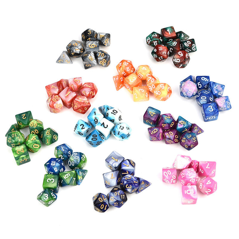 7pcs/Set Digital Dice Game Dungeons Dragons Polyhedral Multi Sided Acrylic Dice - Handcrafted Wood, Iron & Copper