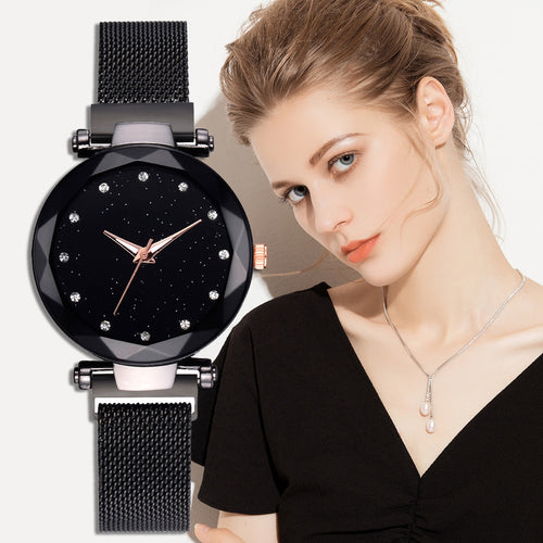 Dropshipping Luxury Magnet Buckle Starry Bracelet Quartz Watches Women Fashion Black Design Clock Ladies Wrist Watch 2018 - Handcrafted Wood, Iron & Copper