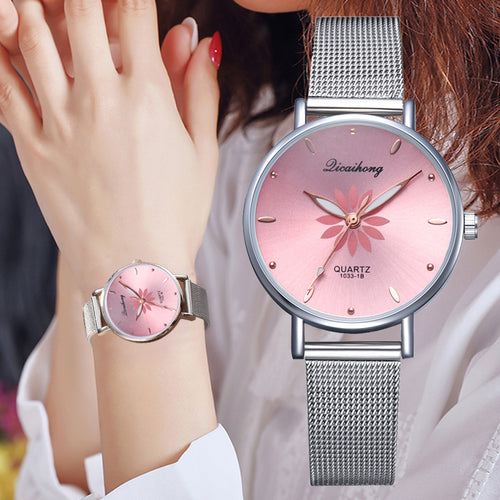 Women's Wristwatches Luxury Silver Popular Pink Dial Flowers Metal Ladies Bracelet Quartz Clock Fashion Wrist Watch 2019 Top - Handcrafted Wood, Iron & Copper