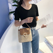 Small Straw Bucket Bags Summer Crossbody Bags Lady Travel Purse Handbag Female Shoulder Messenger Bag - Handcrafted Wood, Iron & Copper
