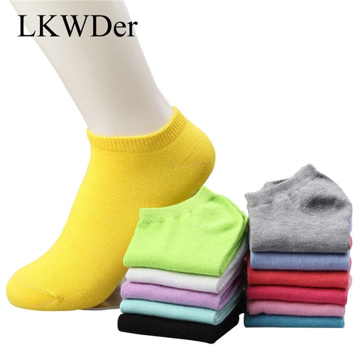 5pairs/lot Women Cotton Socks Summer Autumn Cute Candy Color Boat Socks Ankle Socks Women's Thin Sock Slippers - Handcrafted Wood, Iron & Copper