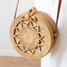 20x8cm Circle Handwoven Women Messenger Bags Round Retro Rattan Straw Beach Crossbody Bag Bolsa Masculina - Handcrafted Wood, Iron & Copper