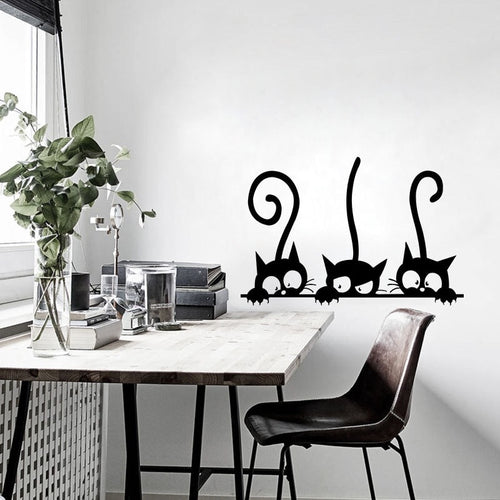Lovely Three Black Cat DIY Wall Stickers Animal Room Decoration Wall Decals - Handcrafted Wood, Iron & Copper
