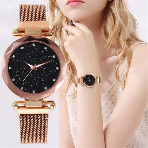 Starry Sky Watch Women's Luxury Magnetic Buckle Quartz Wristwatch Geometric Surface Female Watches - Handcrafted Wood, Iron & Copper