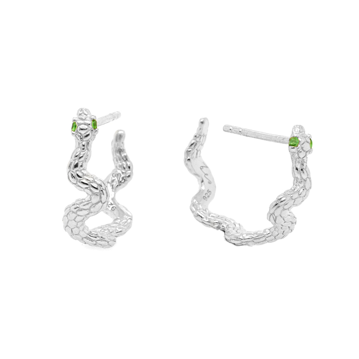 Envy Silver Snake Hoop Earrings