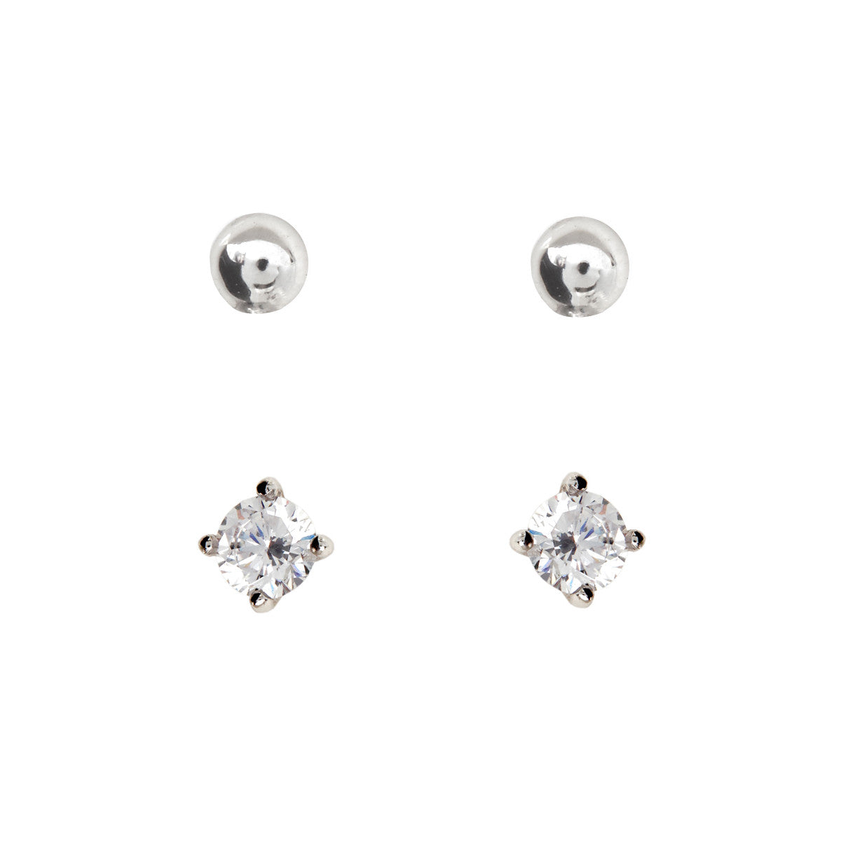 2mm Silver Cubic Zirconia & Ball Stud Pack