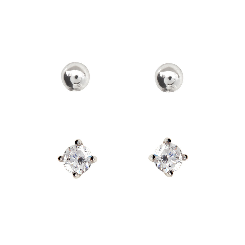 2mm Silver Cubic Zirconia & Ball Studs