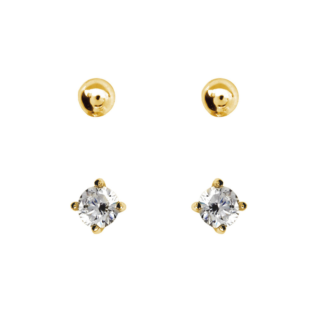 2mm Gold Cubic Zirconia & Ball Stud Pack