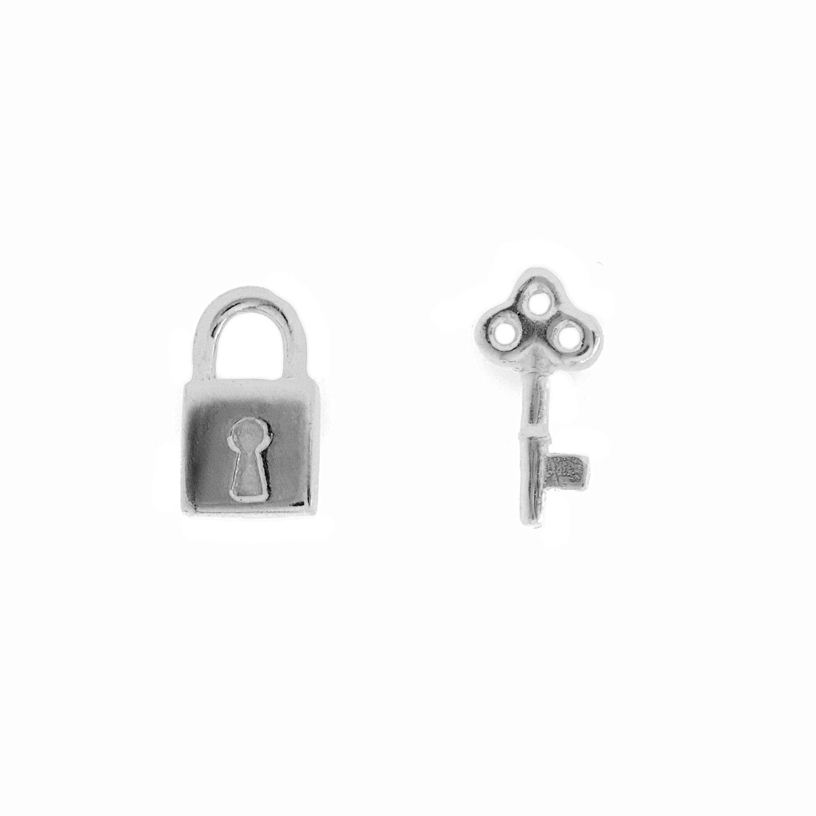 Lock & Key Silver Stud Earrings