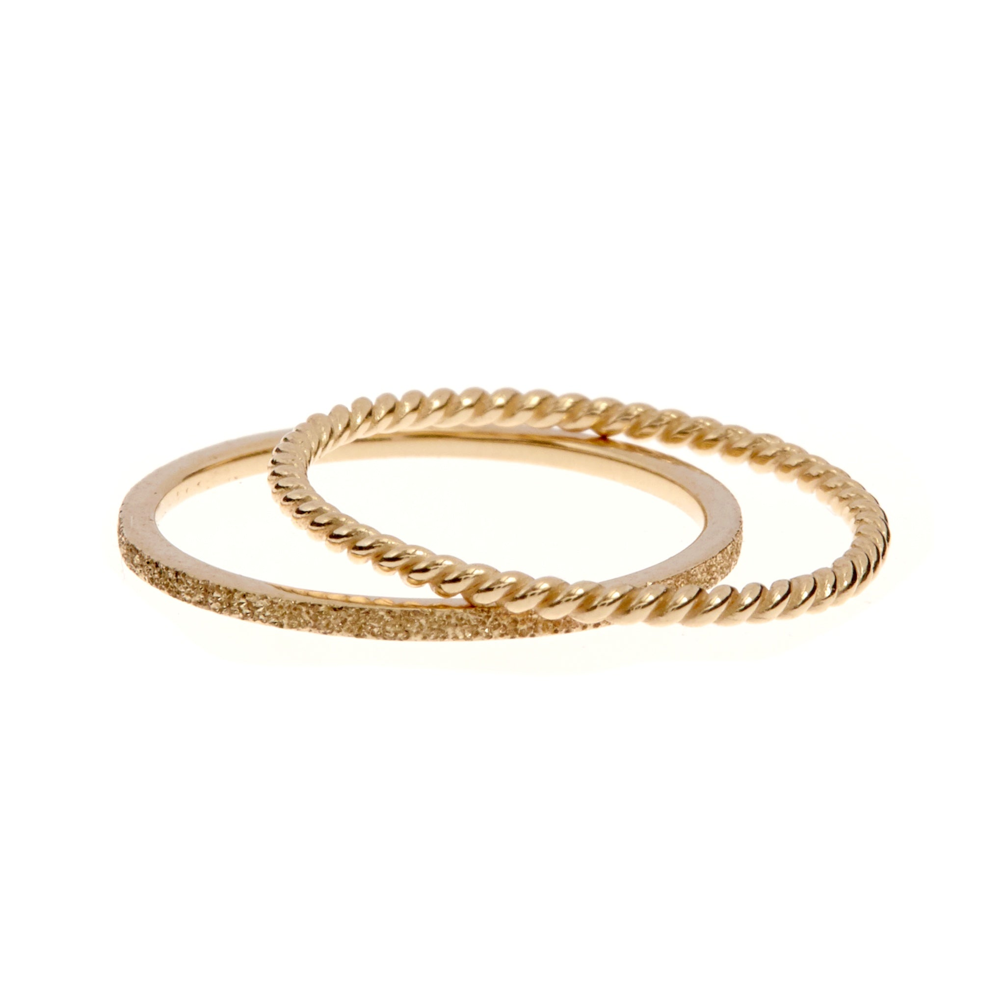 9K Gold Esque 2-Band Ring Set